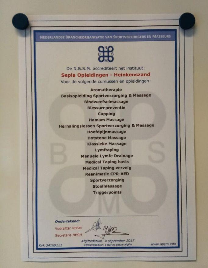 NBSM accreditatie Sepia Opleidingen