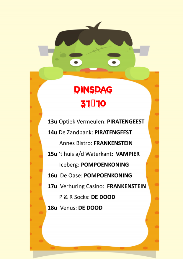 Planning meet en greets dinsdag 31-10-2017