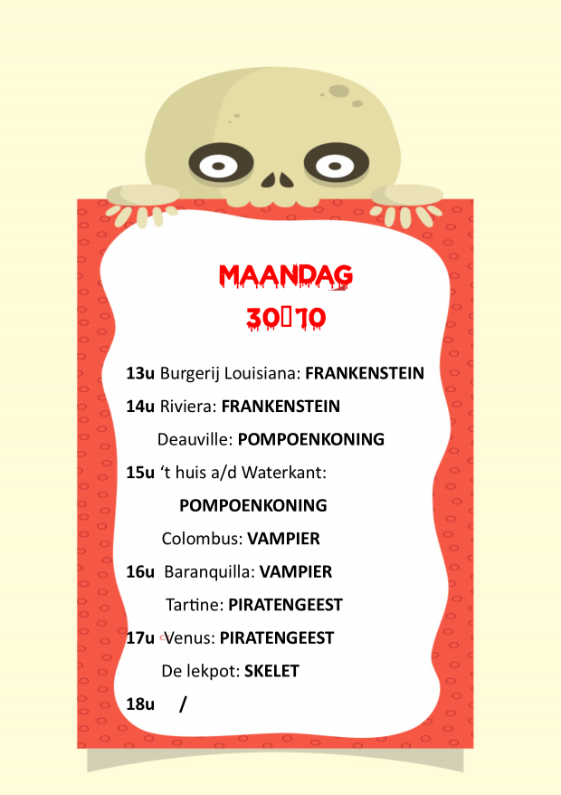Planning meet en greets maandag 30-10-2017