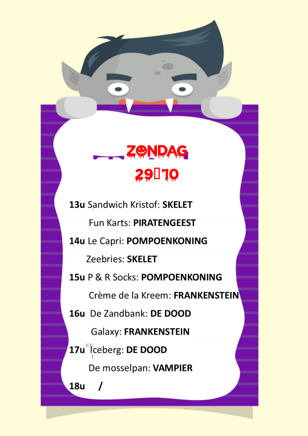 Planning meet en greets zondag 29-10-2017
